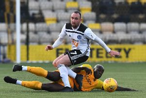 Livingston's Cece Pepe challenges Ayr United's Michael Moffat. Picture: Craig Foy/SNS