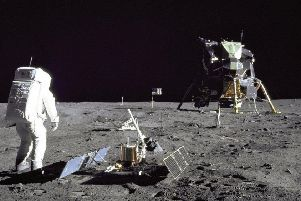 Apollo 11 - Aldrin Looks Back at Tranquillity Base. Credit: NASA.