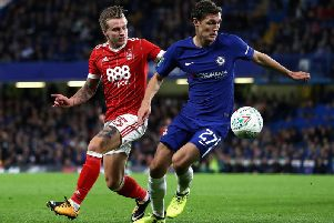 Jason Cummings in action in a Carabao Cup Third Round match between Chelsea and Nottingham Forest at Stamford Bridge
