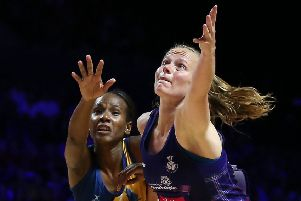 Scotland's Claire Maxwell, right, with Barbados' Tonisha Rock-Yaw. Picture: Nigel French/PA Wire