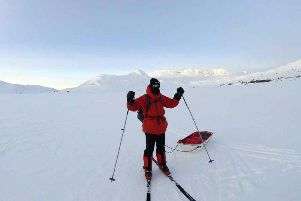 Tom Warburton, who plans to be the youngest person to complete a solo trek to the South Pole, training in Norway