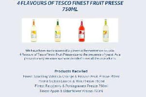 Tesco issued a recall notice for the products.