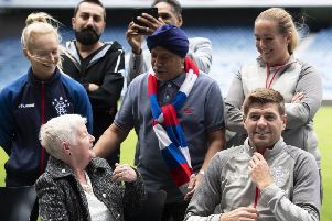 Rangers manager Steven Gerrard, right, gets involved in the club's Everyone Anyone initiative.