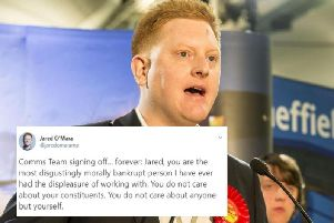 The string of tweets appeared on Sheffield MP Jared O'Mara's Twitter account.