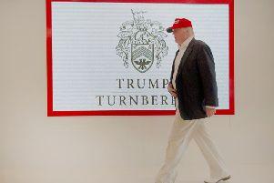 Donald Trump on a visit to his loss making Turnberry resort in South Ayrshire. Picture: John Devlin