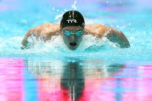 Duncan Scott on his way to finishing second in the 200m individual medley semi-final in Gwangju. Picture: Getty Images