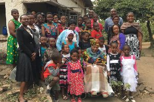 Homba Mbekeani, seated centre, with her family on her 90th birthday on 4th July, 2017