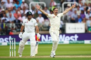 England's Chris Woakes, who took six for 17, appeals successfully to claim the wicket of Gary Wilson. Picture: Julian Finney/Getty