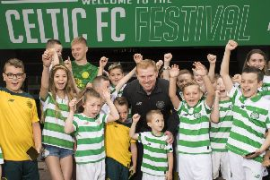 Manager Neil Lennon with young fans at the launch of the inaugural Celtic Festival. Picture: Paul Devlin/SNS
