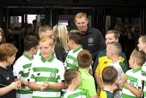 Neil Lennon with young fans at the Celtic Festival at the SEC. Picture: SNS