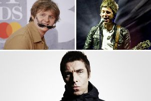 Liam Gallagher (bottom) has waded into the playful feud between his brother Noel (top right) and Lewis Capaldi.