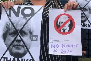 Protesters gathered outside Bute House as Boris Johnson met Nicola Sturgeon. Pictures: Lisa Ferguson