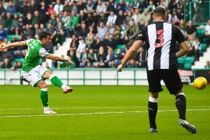 Stevie Mallan scores to make it 1-0 at Easter Road against Newcastle United