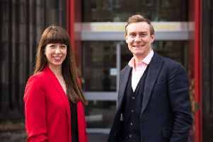 Chris Marsh , Managing Director at Carat and Tina Walsberger , Marketing and Commercial Director at the Edinburgh International Festival announce plans to promote the world class cultural showpiece.