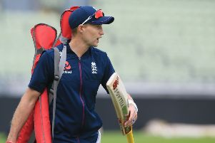 England captain Joe Root at a training session on the eve of the first Ashes Test. Picture: AFP/Getty Images