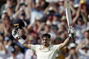 Rory Burns celebrates after reaching his maiden Test century at Edgbaston yesterday. Picture: Getty.