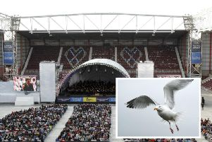 An unusually high number of seagulls could be seen circling overhead while the world-famous orchestra performed their iconic scores. Picture: Alistair Linford