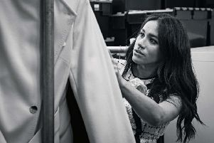 The Duchess of Sussex in the workroom of Smart Works, the clothing charity of which she is a patron. Picture: @SUSSEXROYAL/Getty