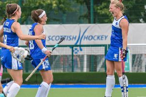 Kaz Cuthbert, who struck twice for Scotland, shows her delight as her team eased their way to a 7-0 victory in the opening pool match against Ukraine. Picture: Duncan Gray