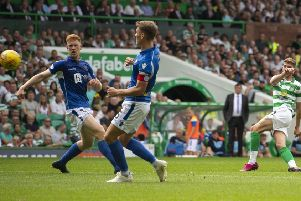 Ryan Christie scores the first of his three goals to put Celtic 2-0 ahead. Picture: SNS.