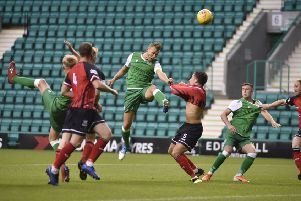 Ryan Porteous powers home the opening goal at Easter Road. Picture: Andrew O'Brien