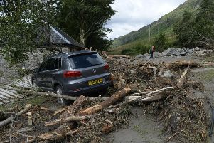 Some of the damage caused by the landslide
