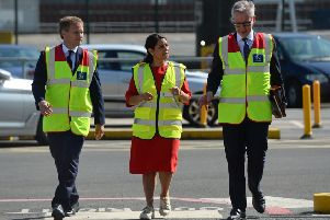Chancellor of the Duchy of Lancaster Michael Gove (right), home secretary Priti Patel and transport secretary Grant Shapps during a visit to the Port of Dover for a meeting with port officials about the work they are doing to ensure the UK's smooth exit from the European Union. Picture: Kirsty O'Connor/PA Wire