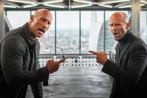 Dwayne Johnson as Luke Hobbs and Jason Statham as Deckard Shaw. Picture: PA Photo/Universal Pictures