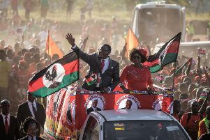 Opposition MCP leader Lazarus Chakwera waves to a crowd ahead of May's general election, the result of which is disputed (Picture: Gianluigi Guercia/AFP/Getty)