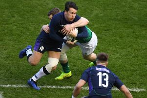 This tackle by Ireland's Chris Farrell on Sam Johnson of Scotland would be illegal under the proposed new law. Picture: SNS/SRU.