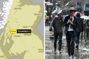 The Met Offices yellow  be aware  severe weather warning for heavy rain remains in force for the whole of Scotland apart from the west Highland and Islands until 6am tomorrow.