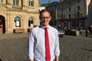 Borders MP John Lamont in the Square in Kelso.
