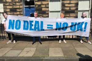 Young activists gathered outside the Tory headquarters in Edinburgh. Picture: JPIMedia