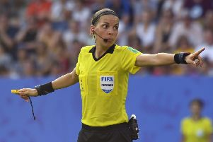 Referee Stephanie Frappart and her assistants Michelle O'Neil and Manuela Nicolosi will become the first team of female officials to preside over a major European men's final. Picture: AFP/Getty