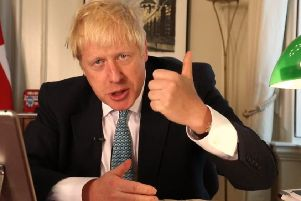 Boris Johnson holds his first 'People's PMQs' session from Downing Street on Facebook Live. (Picture: Downing Street/PA Wire)