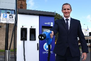 Transport secretary Michael Matheson with one of the latest chargers in Kilmarnock today. Picture: East Ayrshire Council