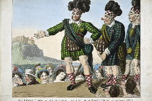 """A caricature of George IV's """"large and loud"""" visit to Edinburgh in August 1822 which projected a new Romantic vision of Scotland onto the world stage. PIC: Scottish National Portrait Gallery."""