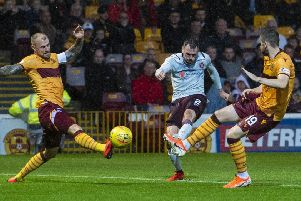 Hearts' Michael Smith scores a fine opening goal against Motherwell. Picture: Bill Murray/SNS