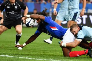 France's wing Alivereti Raka scores a debut try against Scotland. Picture: Pascal Guyot/AFP