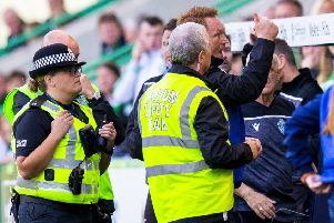 An angry Morton manager David Hopkin was sent to the stands. Picture: SNS