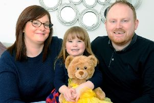 Little Lucy Thom, aged three, was born with a rare form of congenital heart disease. Picture: SWNS
