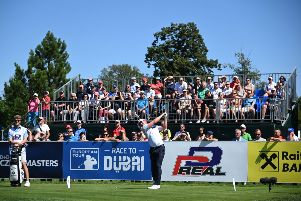 Liam Johnston tees off on the first during the final round of the D+D Real Czech Masters at Albatross Golf Resort in Prague. Picture: Ross Kinnaird/Getty Images