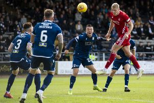 Aberdeen's Sam Cosgrove scores in extra time to make it 2-1. Picture: Craig Foy/SNS