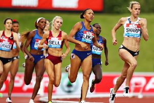 Lynsey Sharp, right, finished second in the 800m at the Muller Birmingham Grand Prix and Diamond League event at Alexander Stadium. Picture: Michael Steele/Getty Images