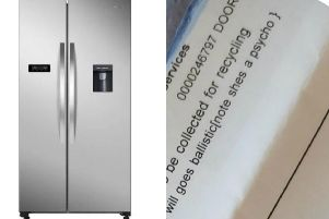 The Kenwood fridge freezer was delivered with an offending note.
