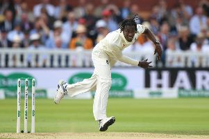 Jofra Archer bowled consistently above 90mph during his impressive Test debut at Lord's. Picture: Stu Forster/Getty Images