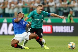 Alfredo Morelos in action during the play-off draw with Legia Warsaw. Picture: PressFocus/Shutterstock