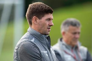 Steven Gerrard oversees training.