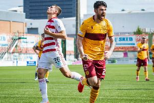 Motherwell's Liam Donnelly celebrates putting Motherwell two ahead.