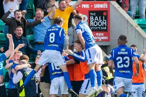St Johnstone players celebrate Michael O'Halloran's goal.